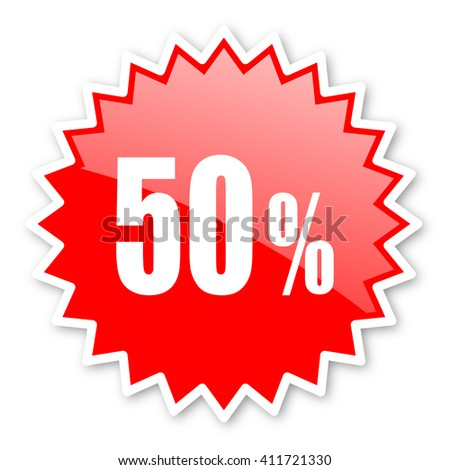 50 percent red tag, sticker, label, star, stamp, banner, advertising, badge, emblem, web icon - stock photo
