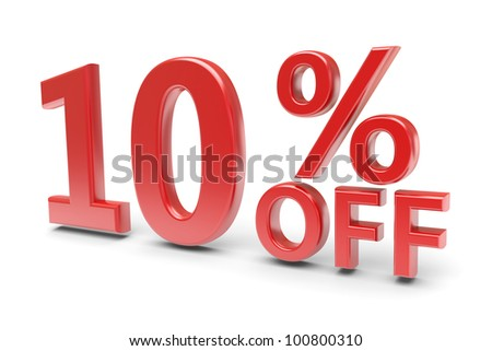 10 percent sale discount. 3d image - stock photo