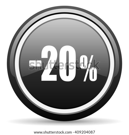 20 percent sale retail black circle glossy web icon