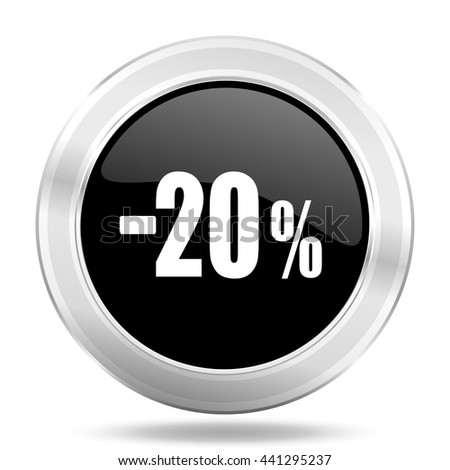 20 percent sale retail black icon, metallic design internet button, web and mobile app illustration