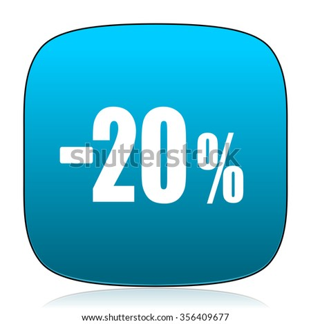 20 percent sale retail blue icon