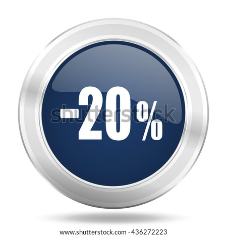 20 percent sale retail icon, dark blue round metallic internet button, web and mobile app illustration