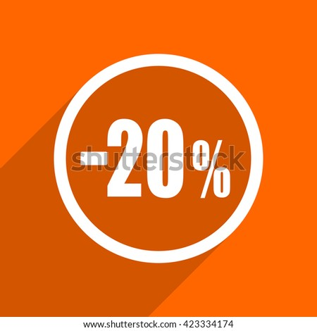 20 percent sale retail icon. Orange flat button. Web and mobile app design illustration