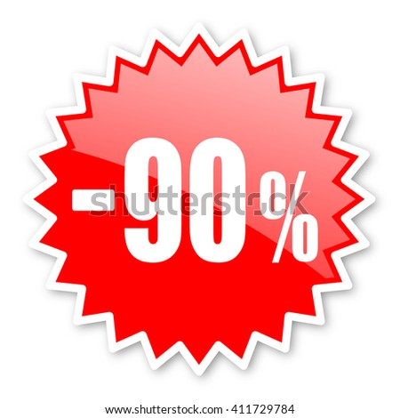 90 percent sale retail red tag, sticker, label, star, stamp, banner, advertising, badge, emblem, web icon - stock photo