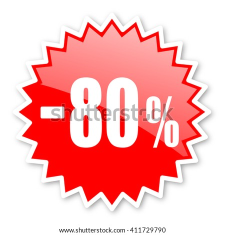 80 percent sale retail red tag, sticker, label, star, stamp, banner, advertising, badge, emblem, web icon - stock photo