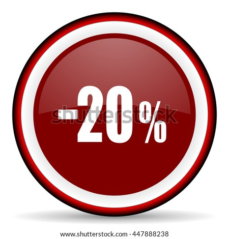 20 percent sale retail round glossy icon, modern design web element