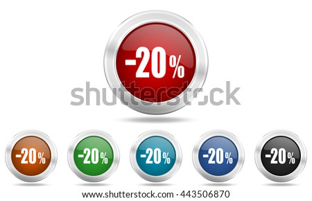 20 percent sale retail round glossy icon set, colored circle metallic design internet buttons