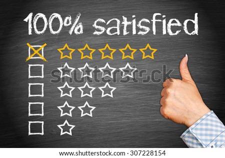 100 percent satisfied - female hand with thumb up and five stars - stock photo