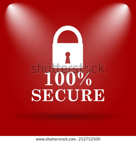 100 percent secure icon. Flat icon on red background.  - stock photo