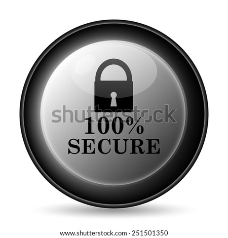 100 percent secure icon. Internet button on white background.