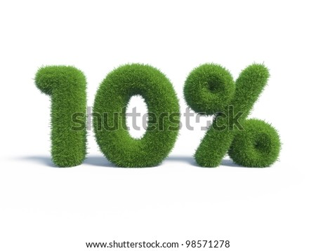 10 percents discount symbol with isolated white background. 3d render - stock photo