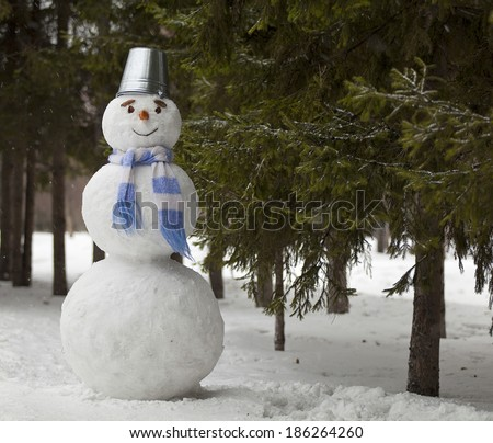 Perfect snowman with carrots on her face and a bucket on his head standing in the forest. Russia, Siberia. - stock photo