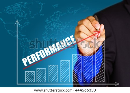 """""""Performance"""" text with hand of young businessman point on virtual graph red line and bar showing on increasing with background -business, finance, salary, crisis, and development concept - stock photo"""