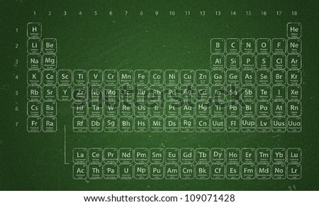 Periodic Table of the Elements written in chalk on chalkboard - stock photo