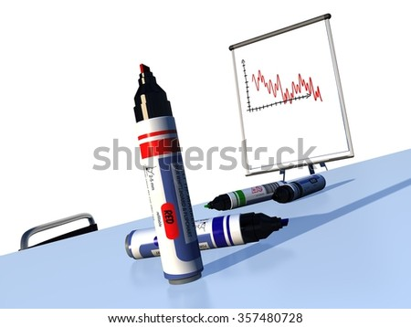 4 permanent felt tip markers without caps on a conference room table in front of a flipchart with a red decreasing courbe diagram with a white background