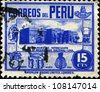 PERU - CIRCA 1938: A stamp printed in Peru shows Exhibits of the Archaeological Museum - Lima, circa in 1938 - stock photo