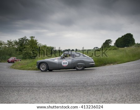 PESARO, ITALY - MAY 15:  FIAT 8V berlinetta 1954  old racing car in rally Mille Miglia 2015 the famous italian historical race (1927-1957) on May 2015