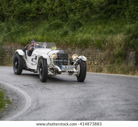 PESARO, ITALY - MAY 15: MERCEDES-BENZ 710 SSK 1928  old racing car in rally Mille Miglia 2015 the famous italian historical race (1927-1957) on May 2015