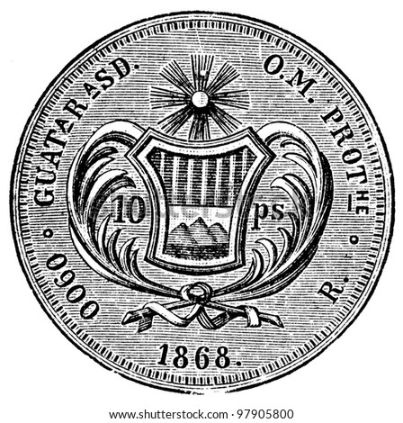 """10 pesos, Guatemala, 1890 - an illustration to articke """"Coins"""" of the encyclopedia publishers Education, St. Petersburg, Russian Empire, 1896 - stock photo"""