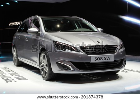 2014 Peugeot 308 SW presented at the 84th International Geneva Motor Show on March 4, 2014 in Palexpo, Geneva, Switzerland