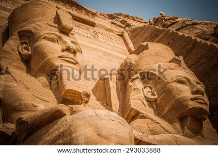 2 pharaoh. Abu simbel, Egypt - stock photo