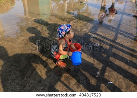 : Phayao Thailand- APRIL 13: Songkran Festival is celebrated in Thailand as the traditional New Year's Day from 13 to 15 April by throwing water at each other, on 13-15 April 2015 in Phayao Thailand