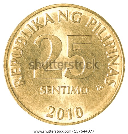 25 Philippine sentimo coin isolated on white background