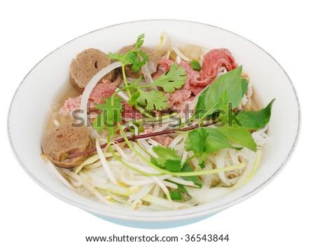 'Pho', Vietnamese nooldes soup - stock photo