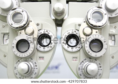 Phoropter, ophthalmic testing device machine,close up and select focus