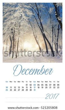 2017 photo calendar with beautiful landscape. December.