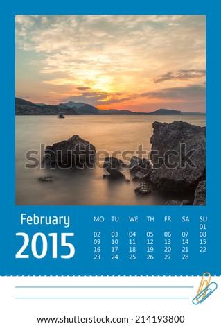 2015 photo calendar with minimalist landscape. February. Dawn on the sea - stock photo