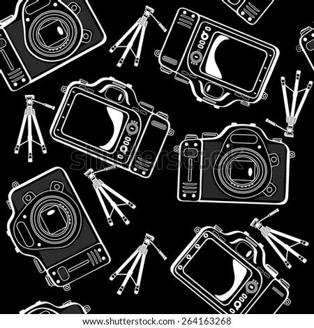 photo cameras  seamless pattern - stock photo
