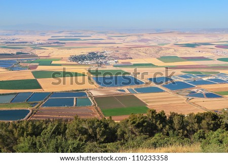 Photo from Mount Barkan. Picturesque squares colored fields of the valley of Galilee