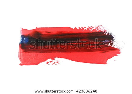 photo grunge red blue brush strokes oil paint isolated on white background - stock photo