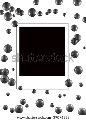 Photo on a white background with bubbles - stock photo