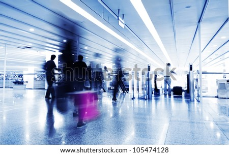 Photo: passenger in the shanghai pudong airport.interior of the airport.