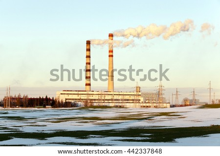 photographed close-up electric power station in the winter season - stock photo