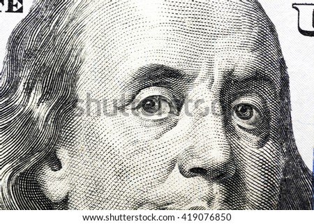 photographed close-up of the new one hundred US dollars, - stock photo