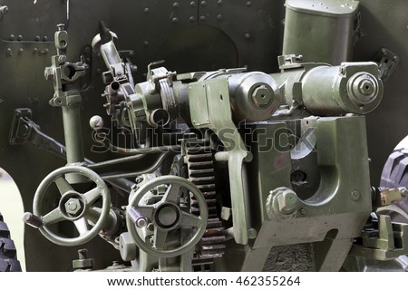 photographed close-up of the old Soviet gun for combat operations,