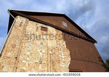 photographed close-up of the Orthodox Church, located in Grodno, Belarus, the church of the 12th century - stock photo
