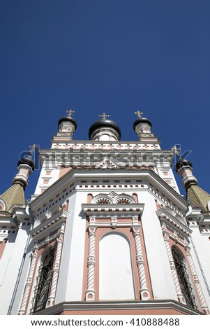 photographed close-up of the Pokrovsky Cathedral, located in Grodno, Belarus, Cathedral in honor of the Holy Virgin - stock photo