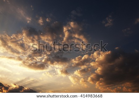 photographed close up the sky during sunset   colored clouds, defocused - stock photo