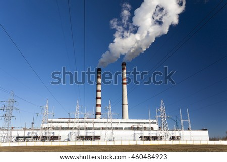 Photographed power plant and a chemical plant during operation