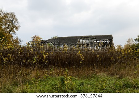 photographed the ruins of an old building located in Belarus - stock photo