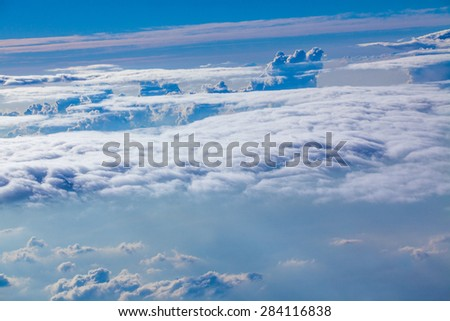 Photos of change By consolidating the clouds from an airplane. - stock photo