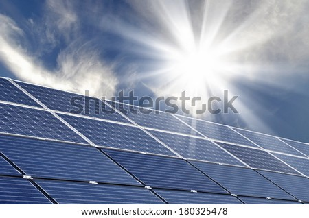 photovoltaic solar modules for producing electricity - stock photo