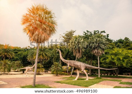 PHU WIANG, KHONKAEN - THAILAND - October 5, 2016: Public parks statues dinosaur at Phu Wiang District in Khonkaen province, northeast Thailand.