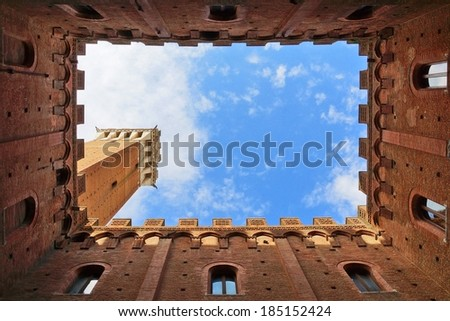 Piazza del campo, Siena, Tuscany, Italy           - stock photo