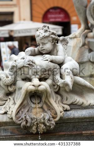 Piazza Navona Fountain of Neptun. Designed by Giacomo della Porta (1574) and Antonio della Bitta. Rome, Italy  - stock photo