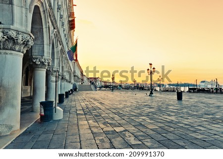 Piazza San Marco in the lagoon city of stone Venice in Italy  - stock photo